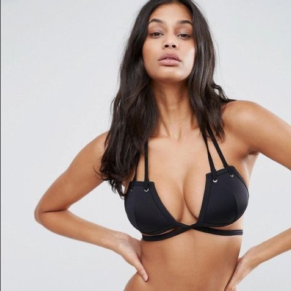 ASOS Other - ASOS Minimalist Wrap Grommet Tie Black Bikini Top
